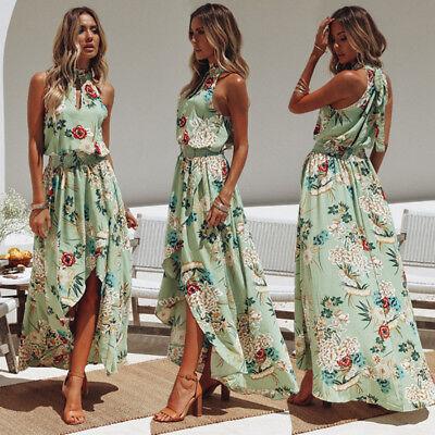 Women Boho Long Maxi Dress Summer Beach Evening Cocktail Party Floral Sundress 3