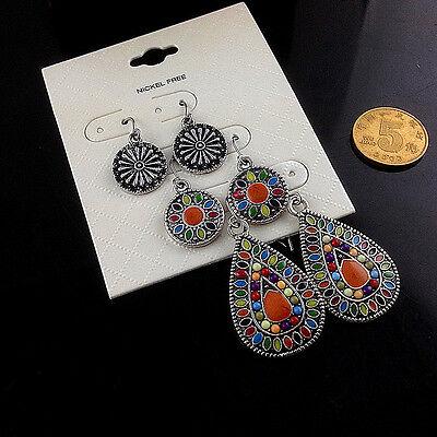 3Pairs/Lot Bohemian Boho Colorful Resin Bead Waterdrop Tassel Women Earrings 4