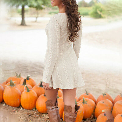 Womens Long Sleeve Casual Knitted Sweater Cable Party Jumper Tunic Mini Dress