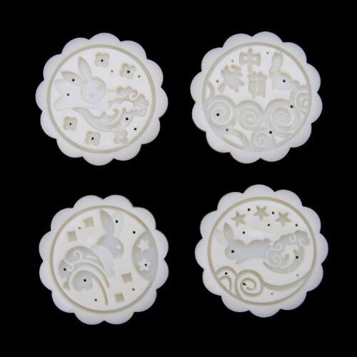 4 Rabbit Stamps 50g Moon Cake Mould DIY Round Mooncake Mold Baking Decor Tool 6