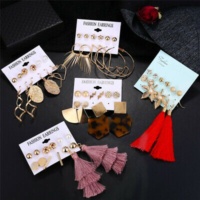 6Pairs Boho Tassel Crystal Pearl Earrings Set Women Ear Stud Dangle Jewelry Gift 7