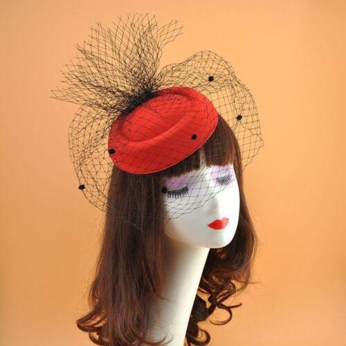 Girls Felt Fascinator Hat Topper Mesh Fishnet Veil Hair Clips Wedding Cocktail 6