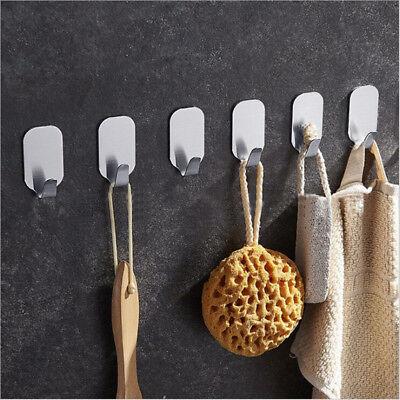 Adhesive Kitchen Wall Door Stainless Steel Stick Holder Hook Hanger 2