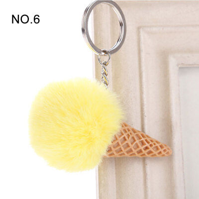 1PC Pendant Imitation Hairball Keychain Ice Cream Cute Fashion Bag Keyring 8