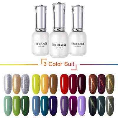 3 Bottles 12ml Soak Off UV Gel Nail Polish Magnetic Pure Tipss Gel Harunouta 3