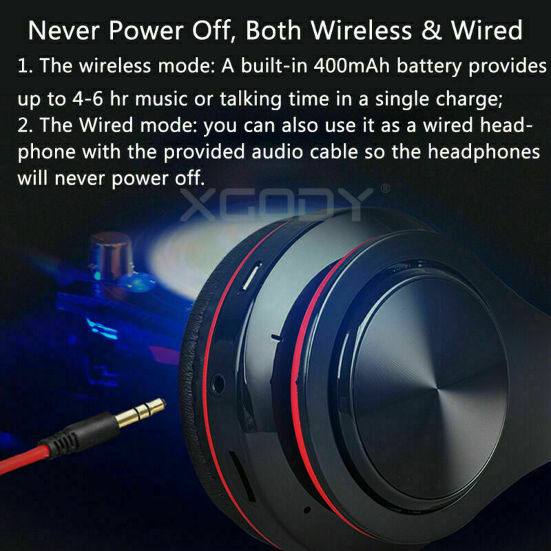 Wireless Headphones Stereo Bluetooth Headset Noise Cancelling Over Ear With Mic 11