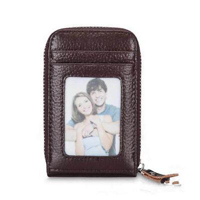 Mini Men Wallet Genuine Leather Credit Card Holder RFID Blocking Zipper Thin  AU 7