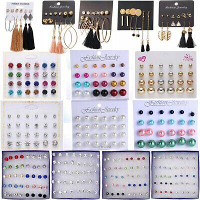 12pairs Pearl Crystal Rhinestone Tassel Earrings Set Ear Stud Drop Chic Party 4