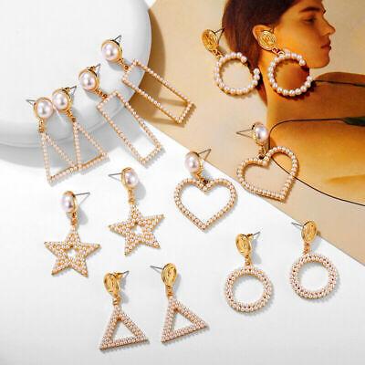 Fashion Women Statement Boho Geometric Big Pendant Ear Stud Dangle Drop Earrings 5