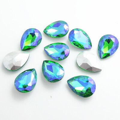 Wholesale Color AB10pcs Crystal Glass rhinestones Teardrop beads 14mm~18mm 6