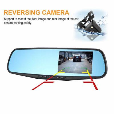 4.3'' HD Dual Lens Car DVR Dash Cam Front and Rear Mirror Camera Video Recorder 12