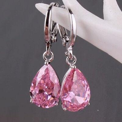 Women's Fashion 925 Sterling Silver Ear Stud Dangle Hoop Party Gamstone Earrings 4