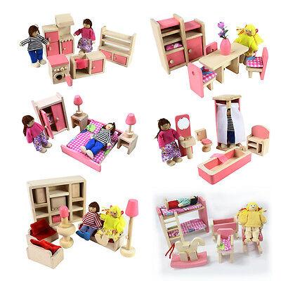 Wooden Furniture Dolls House Family Miniature 6 Room Set Dolls For Kids Children 2