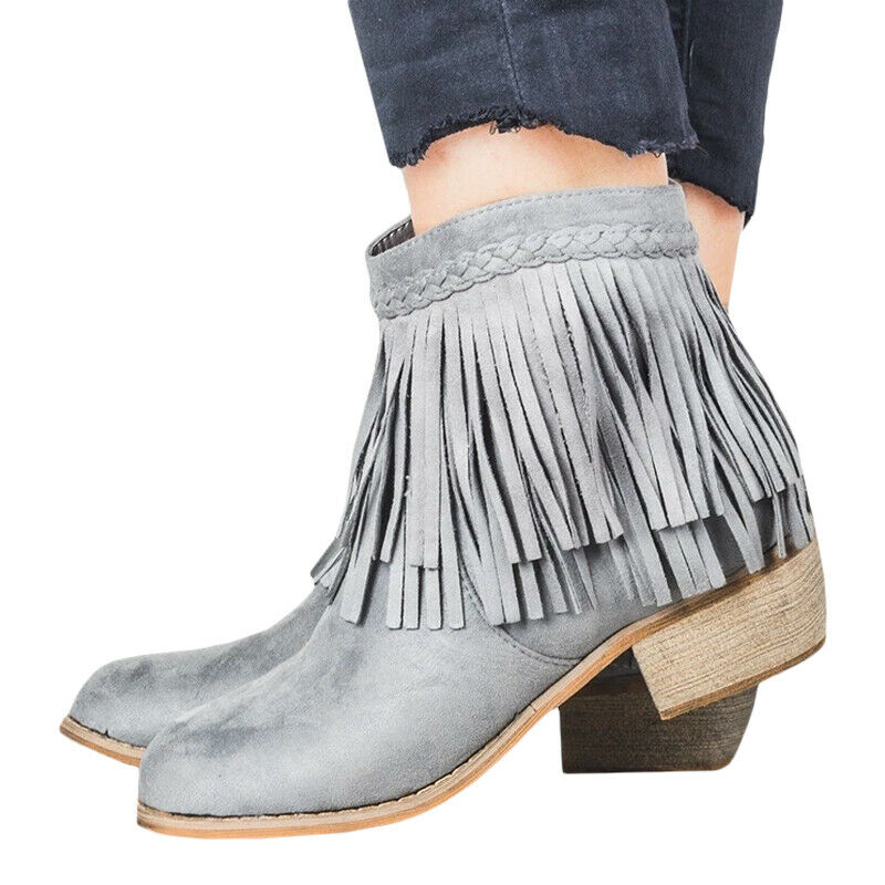 Women Ladies Short Ankle Boots Tassel Chunky Low Heel Casual Shoes UK Size 3.5-8 5