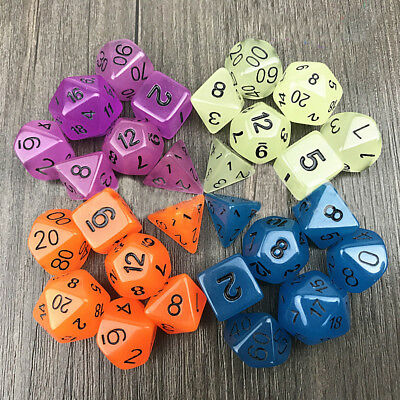 7pc Set Luminous Dungeons Dragons Dice D4/6/8/10/12//20 Games Party Gift