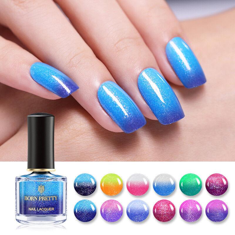 BORN PRETTY Color Changing Nail Polish Glitter Thermal Nails Varnish 19 Colors 4