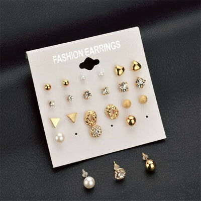 A Set Of 12 Pairs Different Style  Ear Studs Earrings Allergy Free Wholesale UK 2