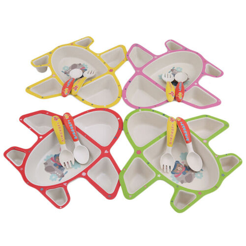 Infants Airplane Tableware Multicolor Plate Food Tray With Spoon Fork Dishes 6A 2