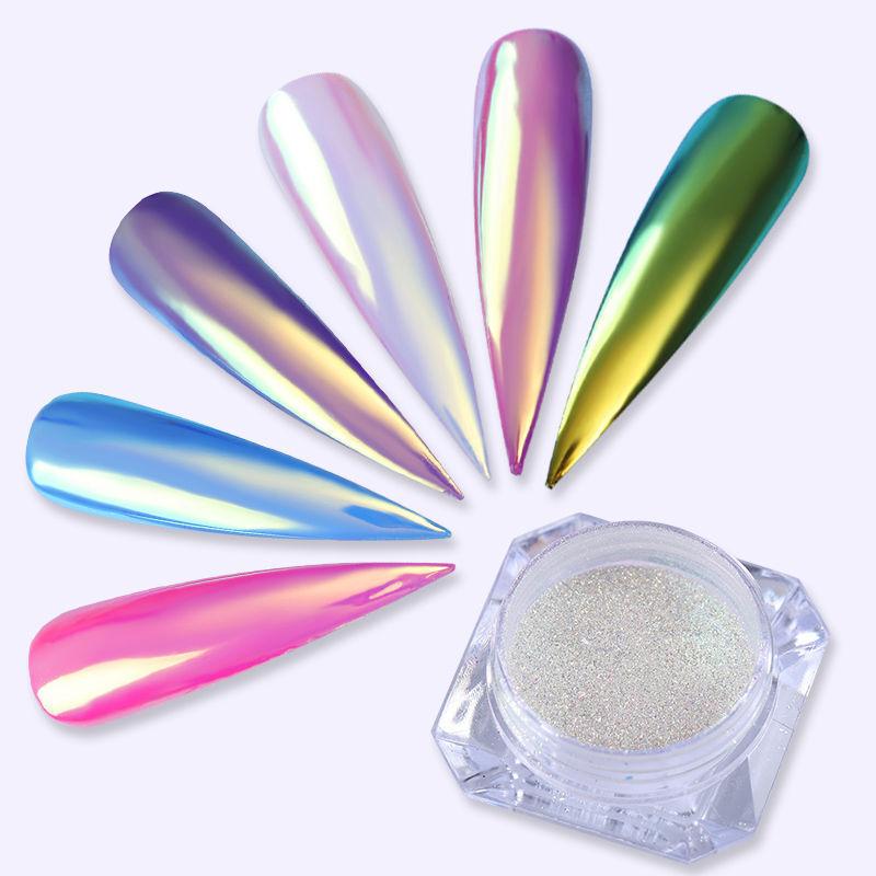 Color-Change Neon Aurora Mermaid Nail Art Glitter Powder Mirror Chrome Pigment 5