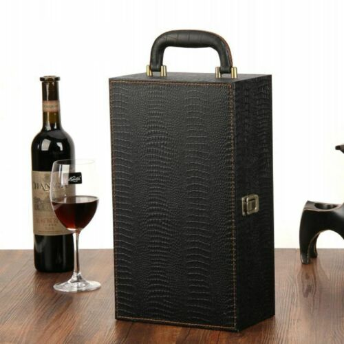 Wine Bottle Box Luxury Leather Bag 2 Red Wine Champagne Tote Carrier Travel Case 3