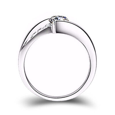 Classic 925 Silver Round Cut White Sapphire Engagement Ring Bridal Jewelry Gifts 4