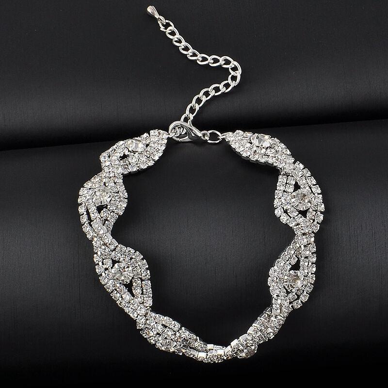 Elegant Deluxe  Women Crystal Rhinestone Infinity Bangle Bracelet Jewelry Gift 5