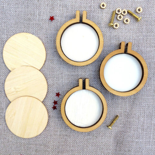 DIY Round Mini Wooden Cross Stitch Embroidery Hoop Ring Frame Machine Fixed  Nj