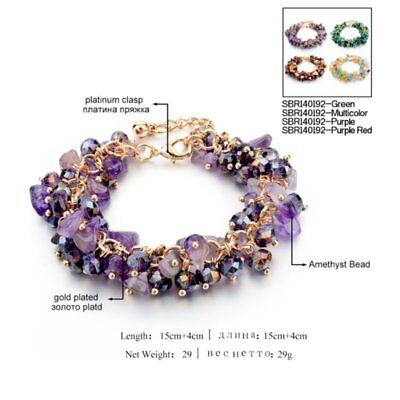 Natural Crystal Stone Chipped Raw Bracelet Women Quartz Bangle Lucky Jewelry New 2