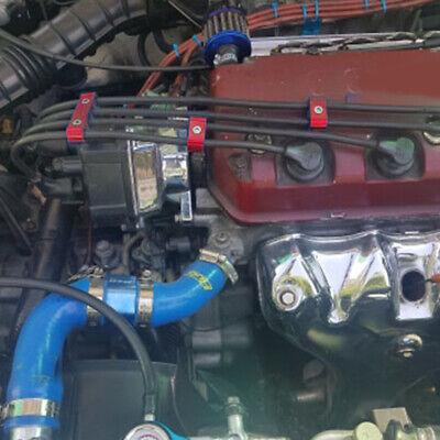 Red Aluminum Engine Spark Plug Wire Separator Divider Organizer Clamp Kit 10mm 12