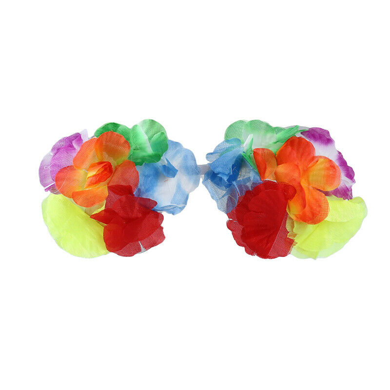 Fashion Kids Adult Hawaiian Hula Grass Skirt Flower Wristband Party Beach Dre GX