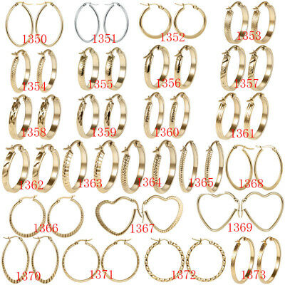316L Stainless Steel Fashion Women Ladies Gold/Silver Elegant Hoop Earrings Gift 2