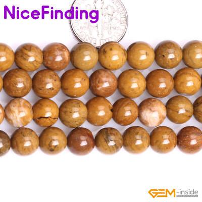 "Natural Yellow Petrified Wood Jasper Stone Beads For Jewelry Making Strand 15""NF"