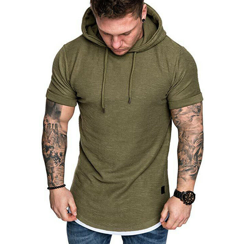 Gym Men Sleeveless Vests Pullover Hoody Hooded Tank Tops Muscle Clothes T-Shirts 6