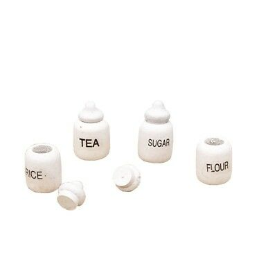 4 Dollhouse Miniature Wood Kitchen Food Sugar Flour Tea Rice Jars Pot 1/12 Decor 7