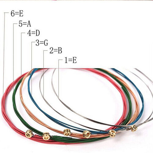 Acoustic Guitar Strings Guitar Strings One Set 6pcs Rainbow Colorful Color UK 5