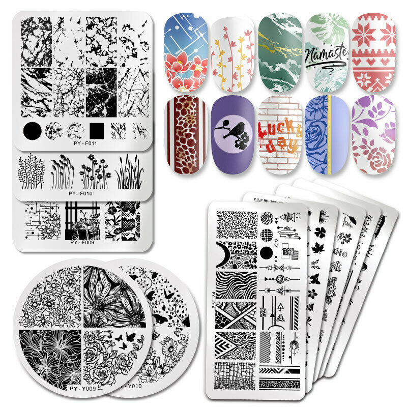PICT YOU Nail Stamping Plates Christmas Fowers Tropical Geometry Image Templates 3