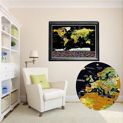 Deluxe Scratch Off Journal Log World Giant Personalized Travel Map Atlas Poster 2
