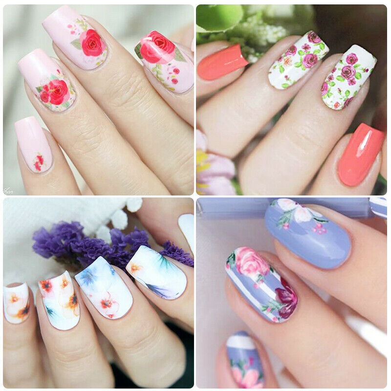 10 Sheets Nail Art Foils Stickers Flower Pattern Transfer Decals Decoration DIY 6