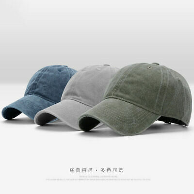 Men Plain Washed Cap Style Cotton Adjustable Baseball Cap Blank Solid Hat Casual 3