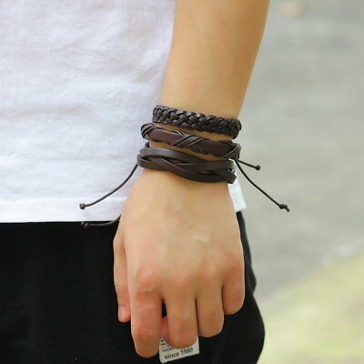 Fashion Mens Punk Leather Wrap Braided Wristband Cuff Punk Bracelet Bangle New 8