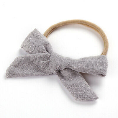 Kids Baby Toddler Cotton Linen Nylon Bow Headband Solid Hairband Hair Ring #N 5