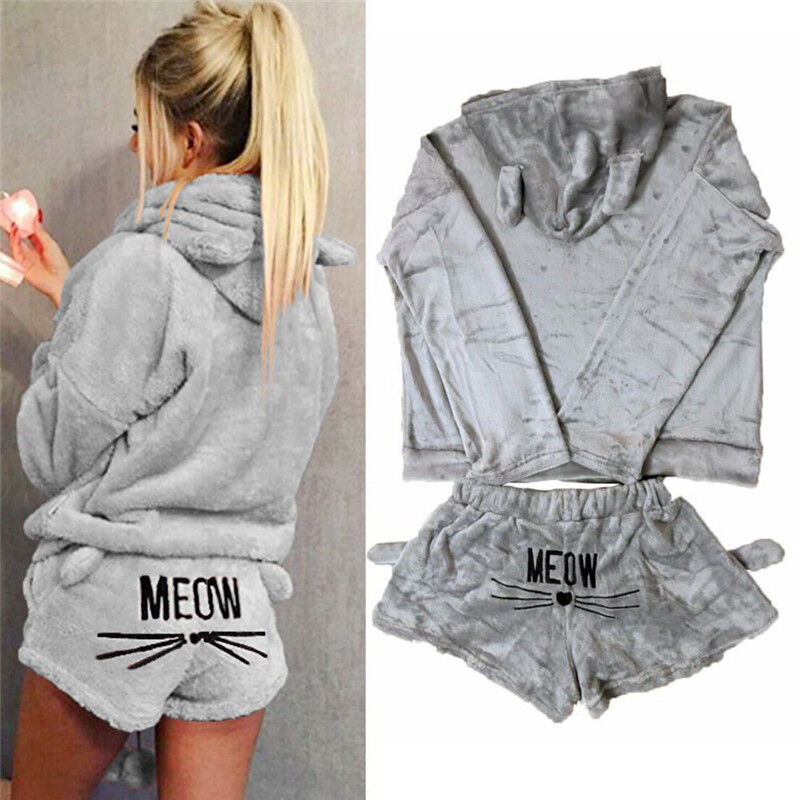 low priced bcd65 9e5ee DAMEN WINTER FLEECE Pyjama Nachtwäsche Schlafanzug Kapuzenpullover Shorts  Set