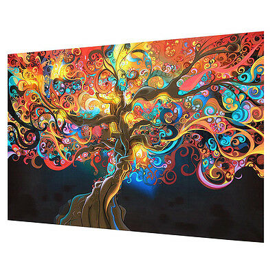 Poster Home Bedroom Decor Psychedelic Tree Abstract Art Silk Cloth Wall Sticker