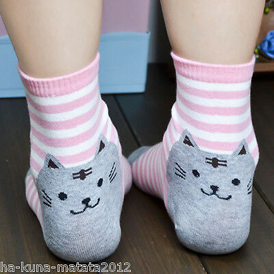 GREEN Stripe CAT Motif Cotton Ankle SOCKS One Size UK 12-4 approx New 1pr UKsale 4
