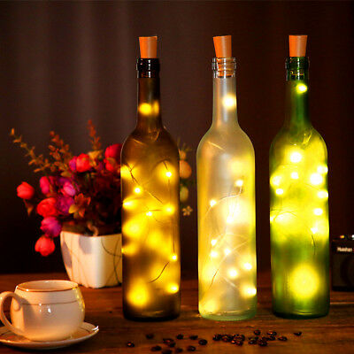 20X 2M 20 LED Wine Bottle Fairy String Light Cork Starry Night Lamp Xmas Wedding 4