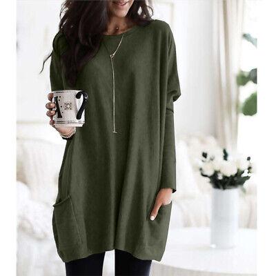 Women Long Sleeve Pocket Autumn Tunic Tops Loose Casual Blouse T-Shirt Plus Size 7