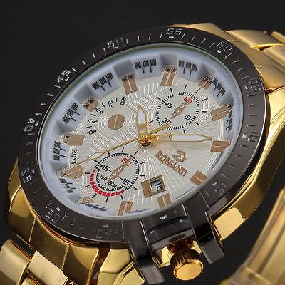 Luxury Mens Black Dial Gold Stainless Steel Date Quartz Analog Sport Wrist Watch 2