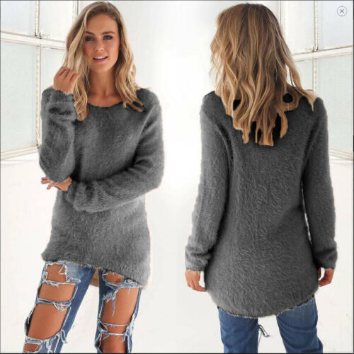 Womens Fluffy Sweatshirt Casual Sweater Long Sleeve Pullover Blouse Jumper Tops 7