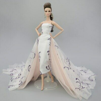 Colorful Floral High Fashion Doll Clothes for 1/6 Doll Wedding Dress Party Gown 4