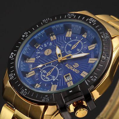 Luxury Mens Black Dial Gold Stainless Steel Date Quartz Analog Sport Wrist Watch 3